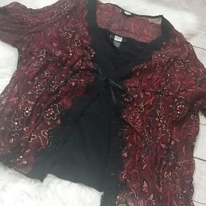 Studio 1940 red ruched layered blouse lace trim